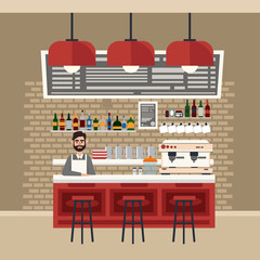 Cafe Interior. Different Beverages. Coffee Maker. Barman