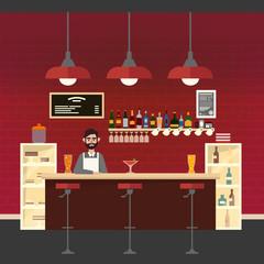 Cafe Interior. Different Beverages. Barman. Bar Table. European Cafe