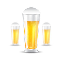Three realistic mock up glass of beer on white background. Vector illustration one glass sharp and two glasses depth of field