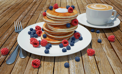 render of pancakes with raspberries and blueberries and coffee