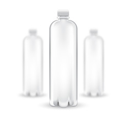 Three realistic mock up white plastic bottle on white background. Vector illustration one bottle sharp and two bottles depth of field1