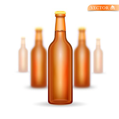 Five realistic mock up brown glass bottle of beer on white background. Vector illustration one bottle sharp and four bottles depth of field