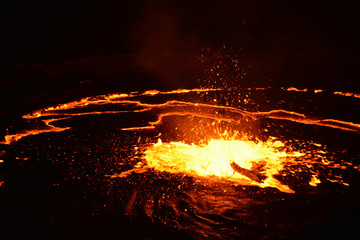 Eruption of Erta Ale volcano