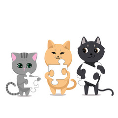 Cute cats characters. Three cat of different colors with puzzle elements. isolated on white background. Vector illustration