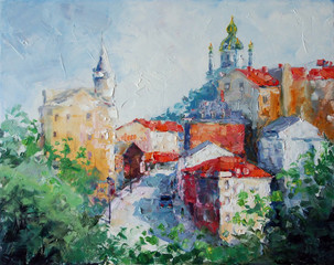 Art Oil Painting Picture Andrew's Descent in Kyiv Ukraine