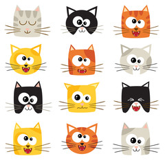 Vector cute cartoon cats isolated on white. Icons set.