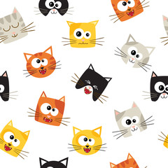 Vector seamless pattern with cute cartoon cats. Seamless pattern