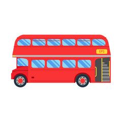 Double decker red bus vector illustration, flat design. City public transport service vehicle retro bus, Double decker Isolated On White Background