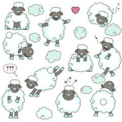 Vector illustration. A set of blue cartoon sheep.