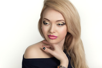 Young beautiful woman, professional make up, hair styling, hand, fingers, black nails. Woman is ready for the party or the great event. Free space on photo, area place for text, inscription, buttons.
