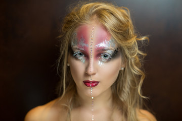 Silver and pink art make up