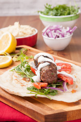 lamb kofte with hummus