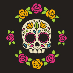 Mexican sugar skull with flowers.