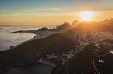 Sunset over Rio de Janeiro and Copacabana Beach