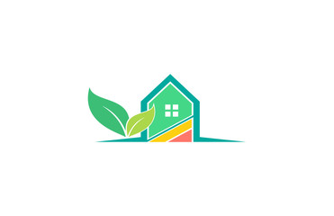 house leaf nature environment logo