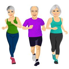 group of senior runner men and women running together