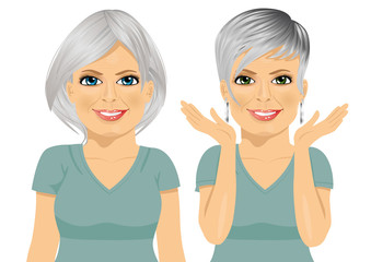 mature woman with different hairstyles