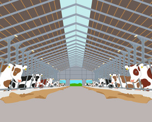Inside of the interior of the cowshed with the cows. Vector illustration