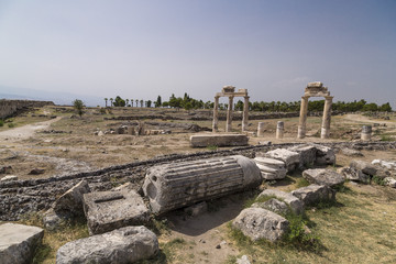 Ruins of Hierapolis, the ancient site located in Pamukkale, Denizli, Turkey.