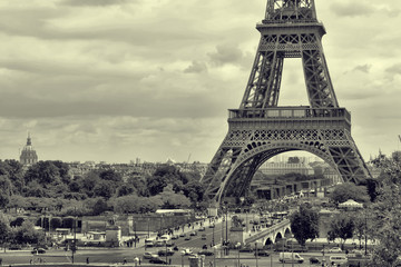 Panorama Eiffel Tower in Paris. Vintage view. Tour Eiffel old retro style.