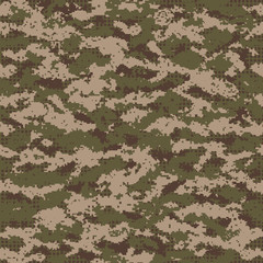Vector illustration of camouflage pattern in pixels.