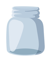 Empty glass bank blank jar classic home dishes vector.