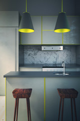 Grey kitchen with yellow edging