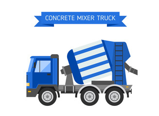 Blue concrete mixer truck cement industry equipment machine vector.