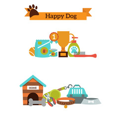 Vector set of color icons for dog pet food, pet accessories vector.