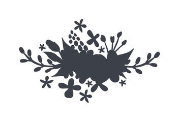 Vector circular floral wreaths with leaves central space for your text.