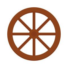 Old wooden vintage wheel from cart transportation vector illustration.