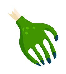 Zombie halloween cartoon death hand with blue claw vector illustration.