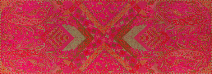 Traditional blue paisley pattern silk headscarf sample