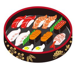 寿司 寿司桶 - Sushi -Japanese traditional plate