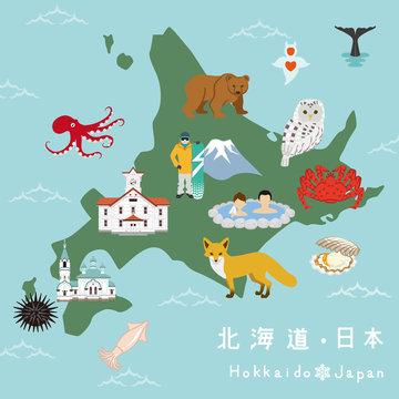 北海道 イラストマップ - Hokkaido Illustration Map