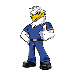 cartoon Eagle with clothes and shoes