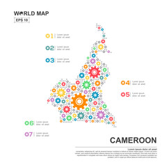 Map Of Cameroon Infographic design template with gear chain