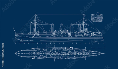 Built in 1903 old armored cruiser blueprint a great wall poster for built in 1903 old armored cruiser blueprint a great wall poster for a steam malvernweather Choice Image