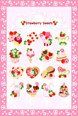The postcard of various strawberry sweets