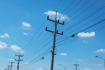 electricity post on blue sky background