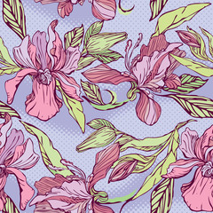 Floral Seamless Pattern with hand drawn flowers - orchids on vio