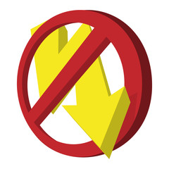 No photo flash sign icon, cartoon style