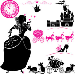 Fairytale Set - silhouettes of Cinderella, Pumpkin carriage with