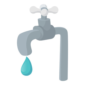 Water tap icon, cartoon style