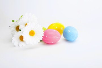 Easter colored eggs with white chamomile