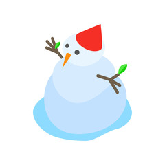 Melting snowman icon, isometric 3d style