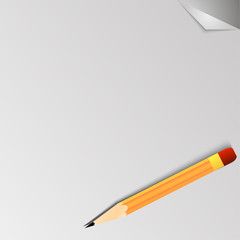 White background with paper effect and a pencil vector illustrat