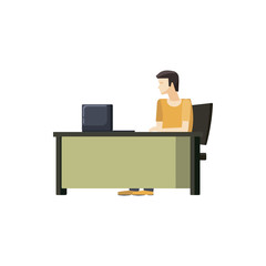 Man sitting at a computer desk icon, cartoon style
