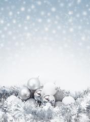 celebration silver christmas ball on sparkle snow background