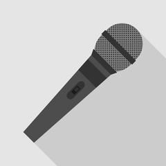 microphone icon with long shadow. flat style vector illustration